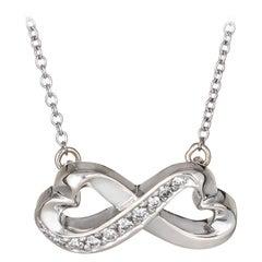Tiffany & Co. Double Diamond Heart Necklace Paloma Picasso 18 Karat White Gold