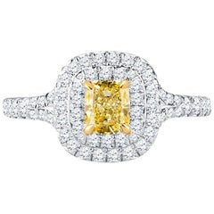 Tiffany & Co. Double Halo Engagement Ring with 0.51 Carat Intense Yellow Diamond