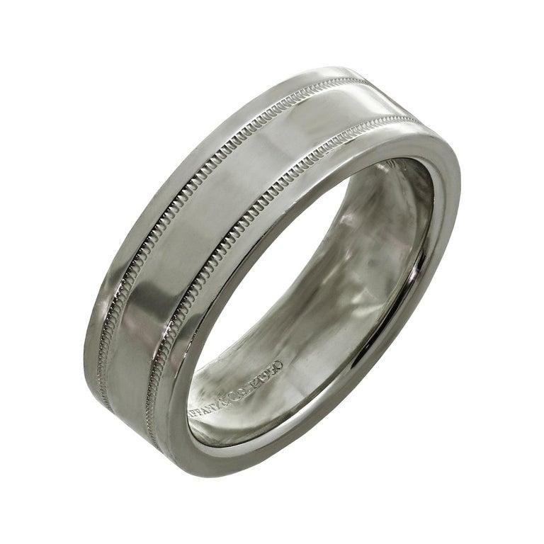 Tiffany & Co. Double Milgrain Platinum Wedding Band Ring For Sale