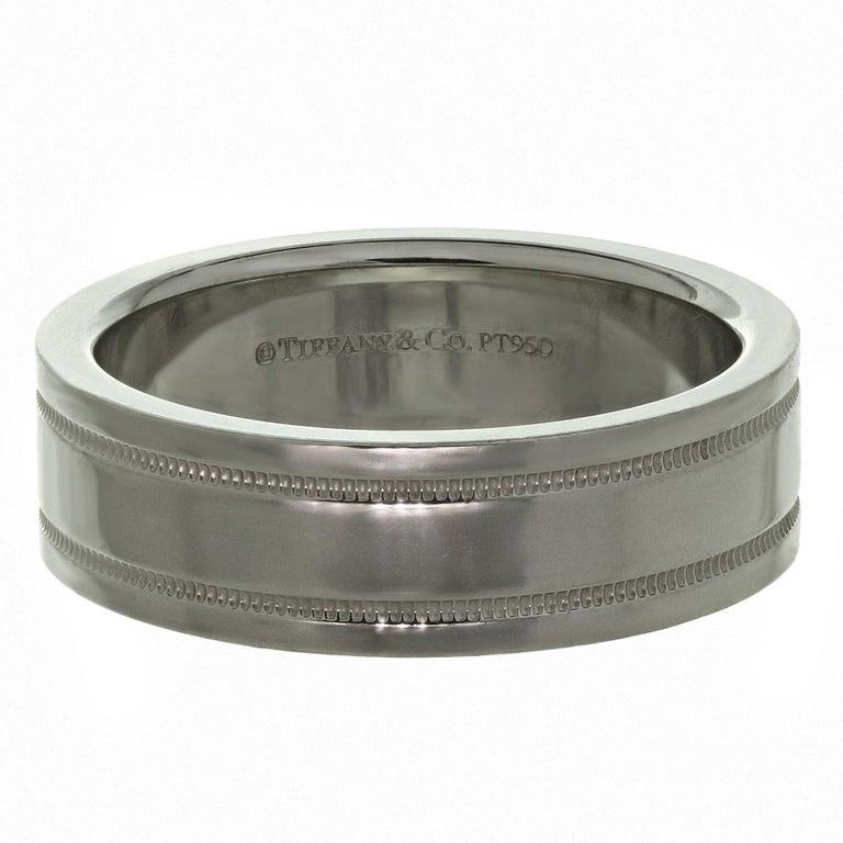 Women's Tiffany & Co. Double Milgrain Platinum Wedding Band Ring For Sale