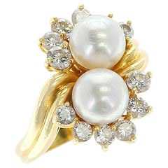 Tiffany & Co. Double Pearl Ring with Round Diamonds, 18 Karat Yellow Gold