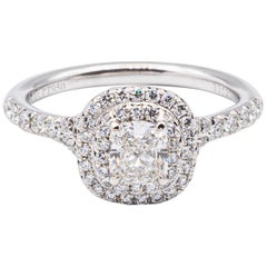 """Tiffany & Co. Double Row """"Soleste"""" Cushion .49 Carat Center FVS1 Engagement Ring"""