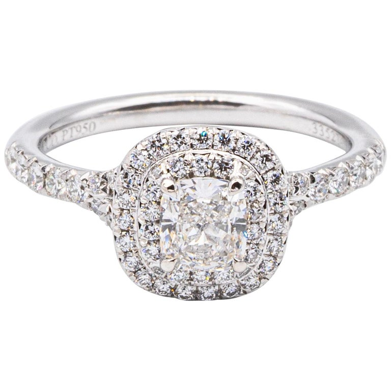 "Tiffany & Co. Double Row ""Soleste"" Cushion .49 Carat Center FVS1 Engagement Ring For Sale"
