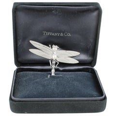 Tiffany & Co. Dragonfly Pin with Diamonds and Pearls Set in 18 Karat White Gold