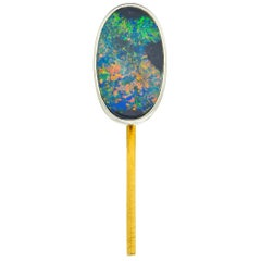 Tiffany & Co. Edwardian Black Opal Platinum 18 Karat Gold Stickpin