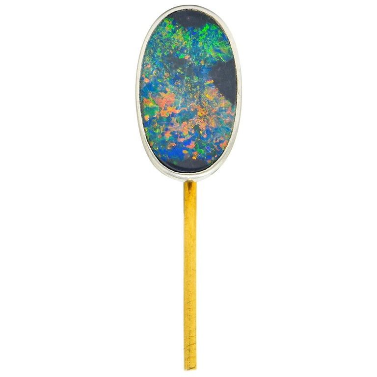 Tiffany & Co. Edwardian Black Opal Platinum 18 Karat Gold Stickpin For Sale