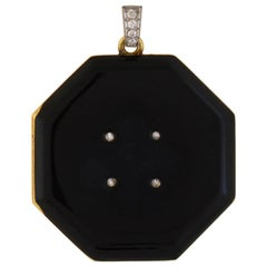 Tiffany & Co. Edwardian Diamond and Black Enamel Locket