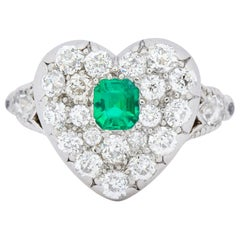 Tiffany & Co. Edwardian Emerald Diamond Platinum 18 Karat Gold Ring Heart Ring