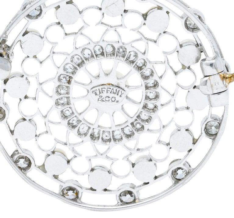 Tiffany & Co. Edwardian Pearl Diamond Platinum Brooch For Sale 1