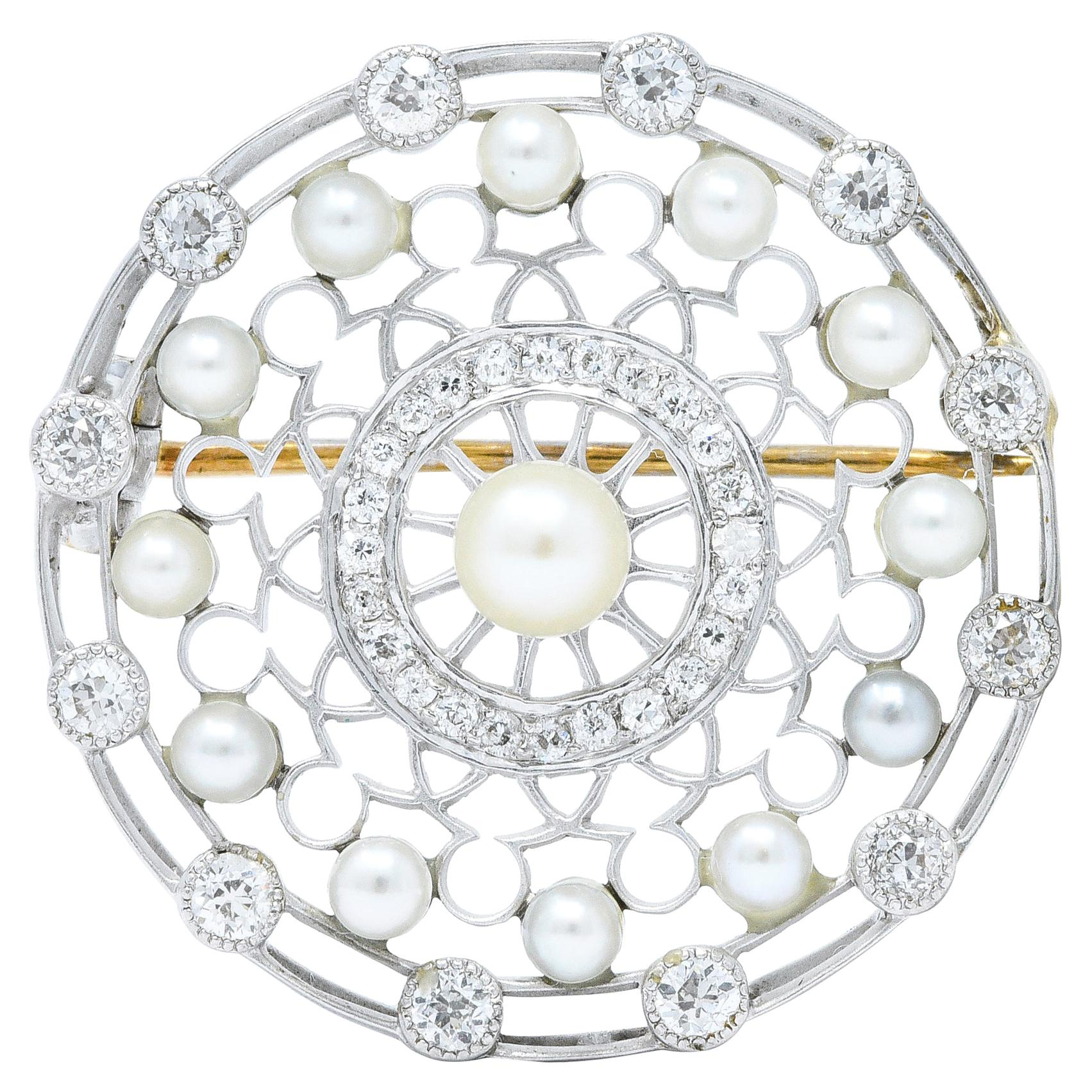 Tiffany & Co. Edwardian Pearl Diamond Platinum Brooch