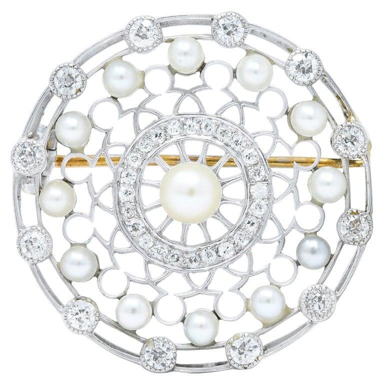 Tiffany & Co. Edwardian Pearl Diamond Platinum Brooch For Sale