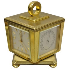 Tiffany & Co. Eight Day Brass Four Caster Revolving Small Desk Clock