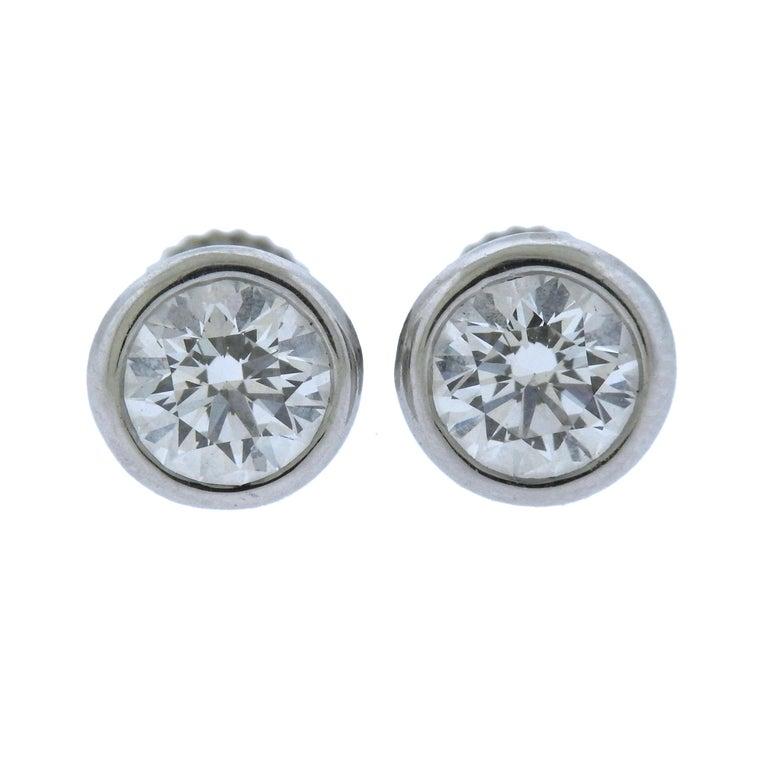 30a21f449 Tiffany & Co. Elsa Peretti 1.62 Carat E VS1 Diamond Platinum Stud Earrings  For Sale