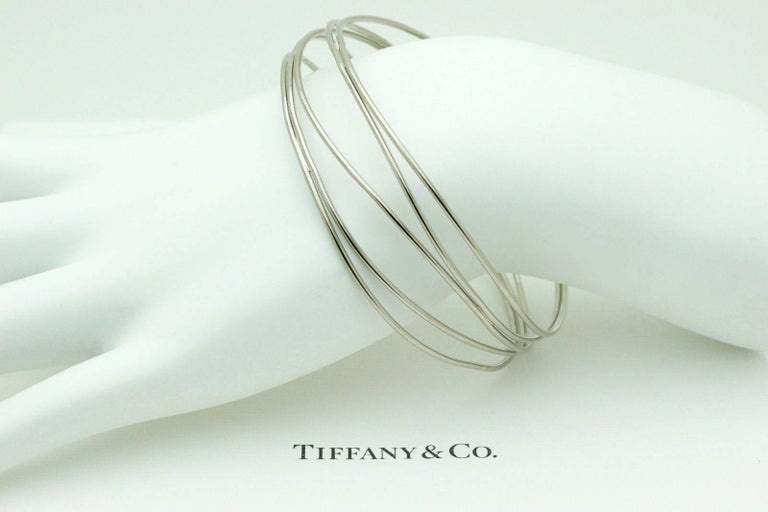 Tiffany & Co. Elsa Peretti 18 Karat White Gold Five-Row Wave Bracelet In Excellent Condition For Sale In San Diego, CA