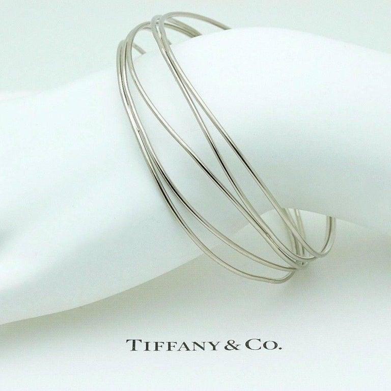 Women's Tiffany & Co. Elsa Peretti 18 Karat White Gold Five-Row Wave Bracelet For Sale