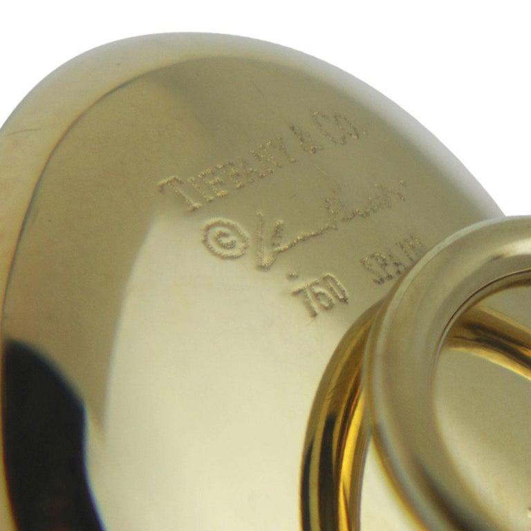 Tiffany & Co Elsa Peretti 18 Karat Yellow Gold Full Heart Pierced Earrings In Good Condition For Sale In QLD , AU