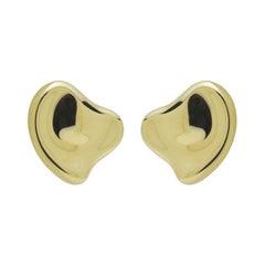 Tiffany & Co Elsa Peretti 18 Karat Yellow Gold Full Heart Pierced Earrings