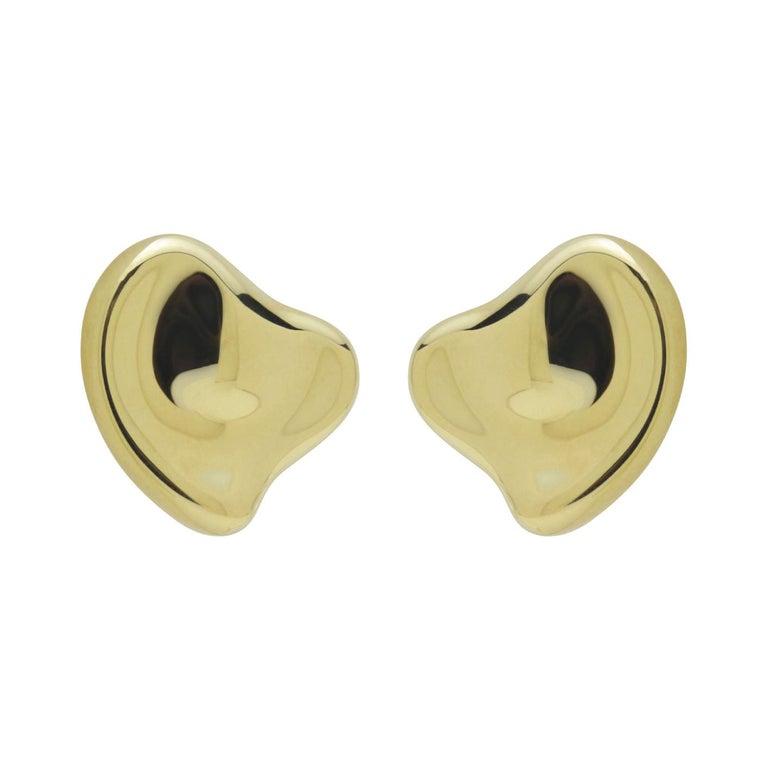 Tiffany & Co Elsa Peretti 18 Karat Yellow Gold Full Heart Pierced Earrings For Sale