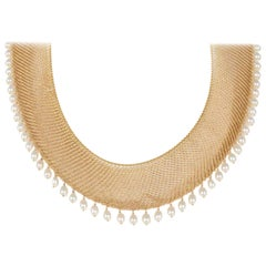 Tiffany & Co. Elsa Peretti 18 Karat Yellow Gold Mesh Drop Earrings Bib Necklace
