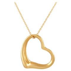 Tiffany & Co. Elsa Peretti 18 Karat Yellow Gold Open Heart Pendant Necklace