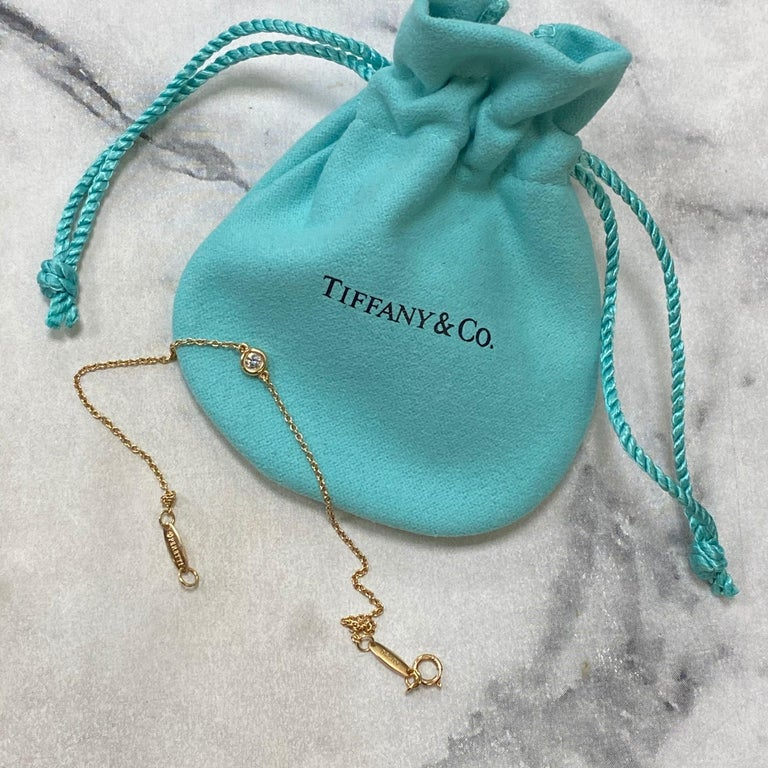 Round Cut Tiffany & Co Elsa Peretti 18K Rose Gold Single Diamonds Bracelet 0.08cttw