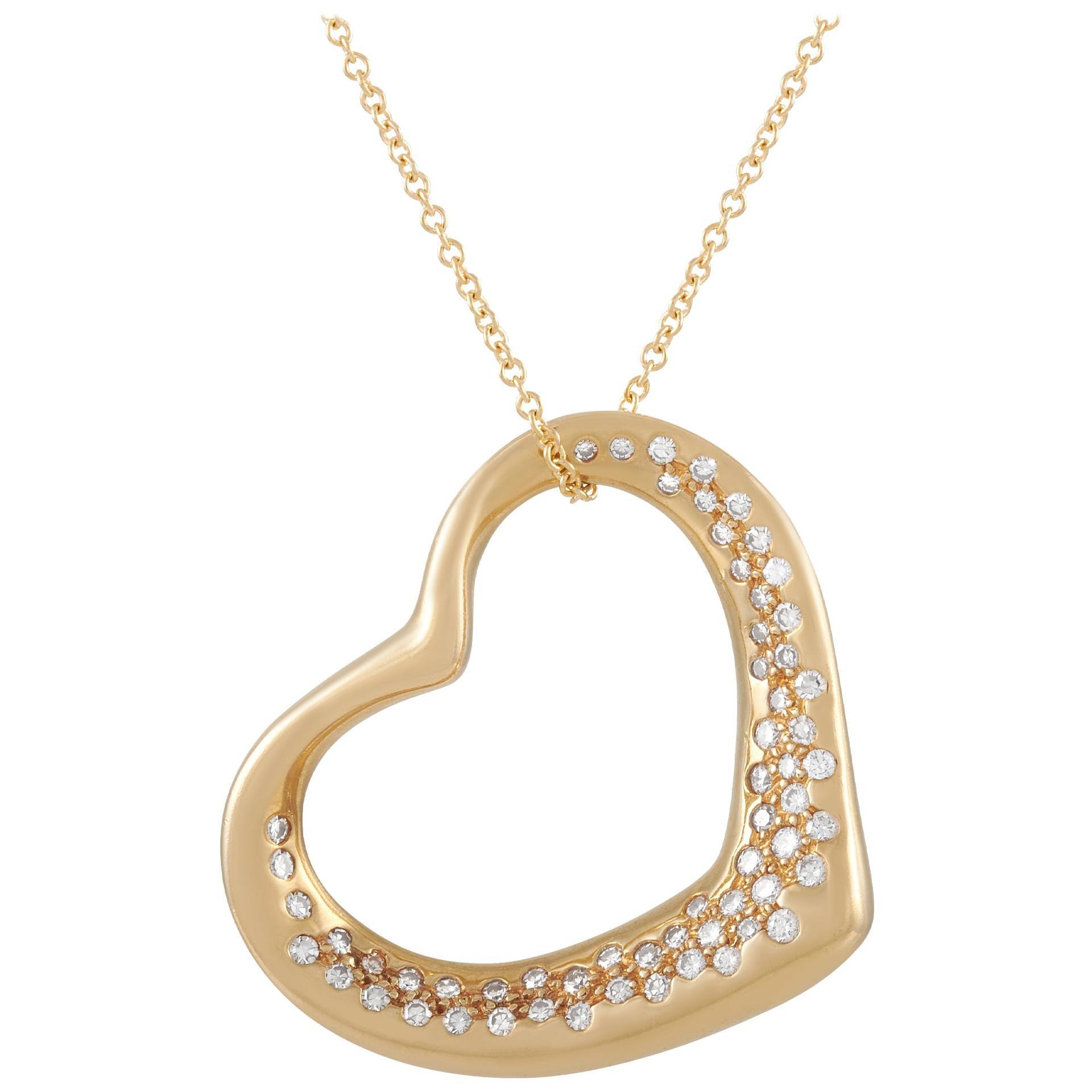 Tiffany & Co. Elsa Peretti 18K Yellow Gold 0.75 Carat Diamond Heart Necklace