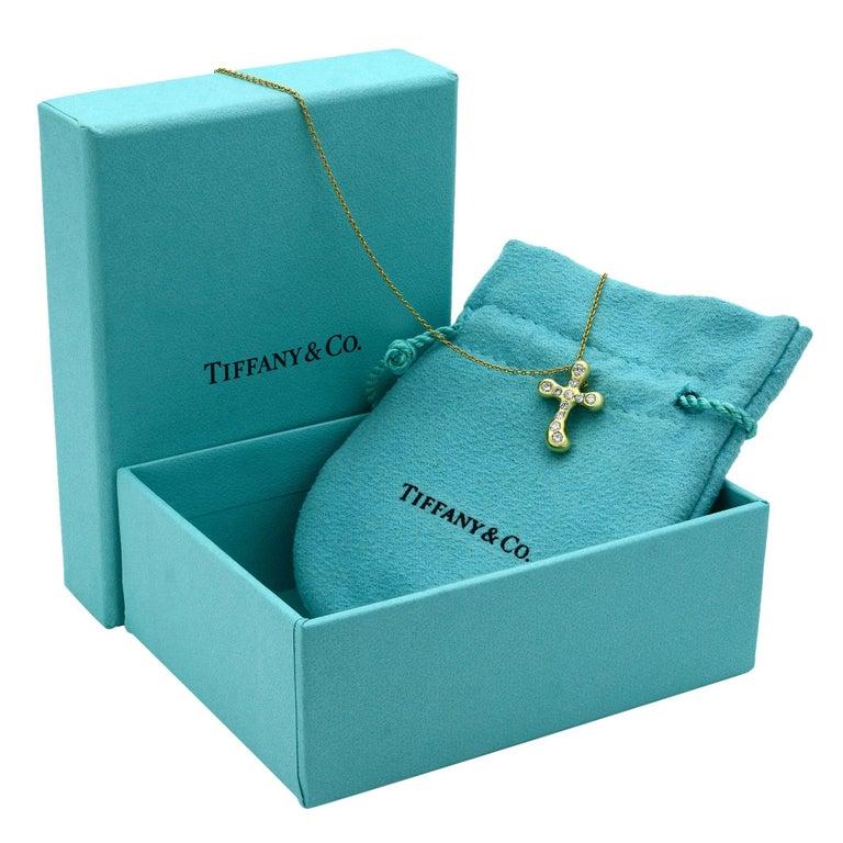 Tiffany & Co. Elsa Peretti 18 Karat Yellow Gold Diamond Cross Pendant 0.25 Carat For Sale 1