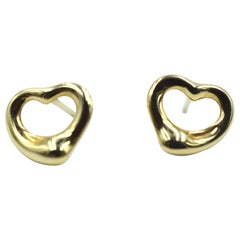 Tiffany & Co. Elsa Peretti 18 Karat Yellow Gold Open Heart Earrings