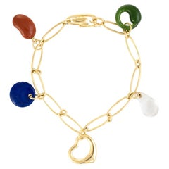Tiffany & Co. Elsa Peretti 5 Charm Bracelet 18 Karat Gold Estate Fine Jewelry