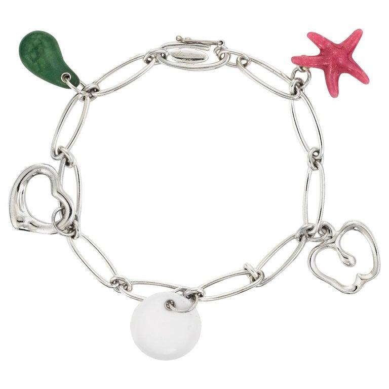 79cd5e5d4 Tiffany & Co Elsa Peretti 5 Charm Bracelet Sterling Silver Estate Starfish  Apple For Sale