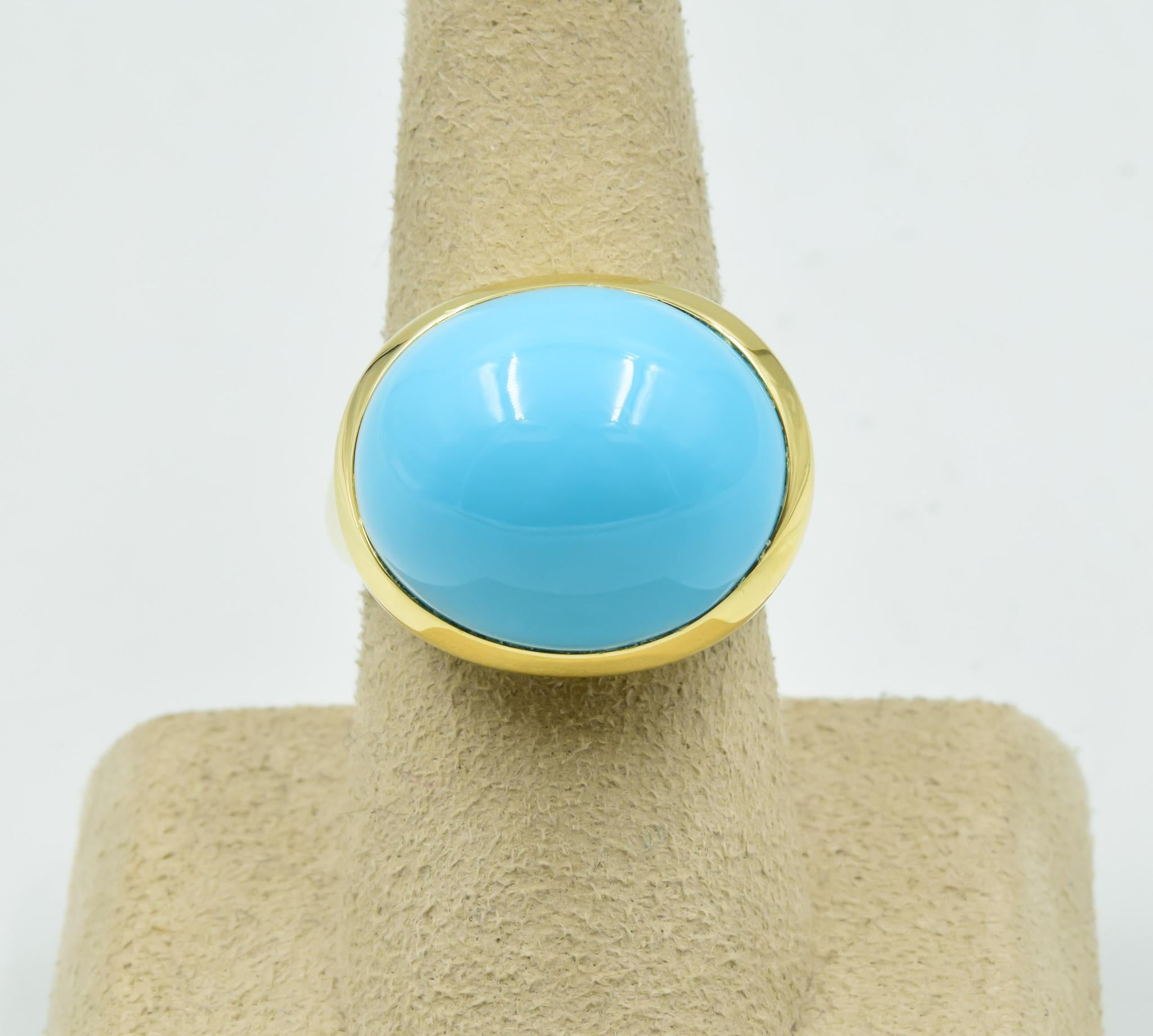 535901b53581 Tiffany and Co. Elsa Peretti Cabachon Robins Egg Ring in Turquoise 18 Karat  Gold at 1stdibs