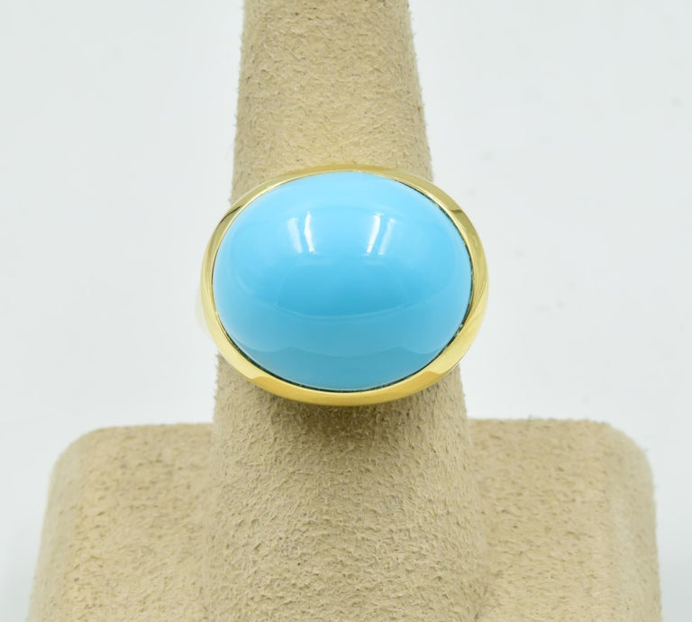 e93fbaf451abe Tiffany & Co. Elsa Peretti Cabachon Robins Egg Ring in Turquoise 18 Karat  Gold