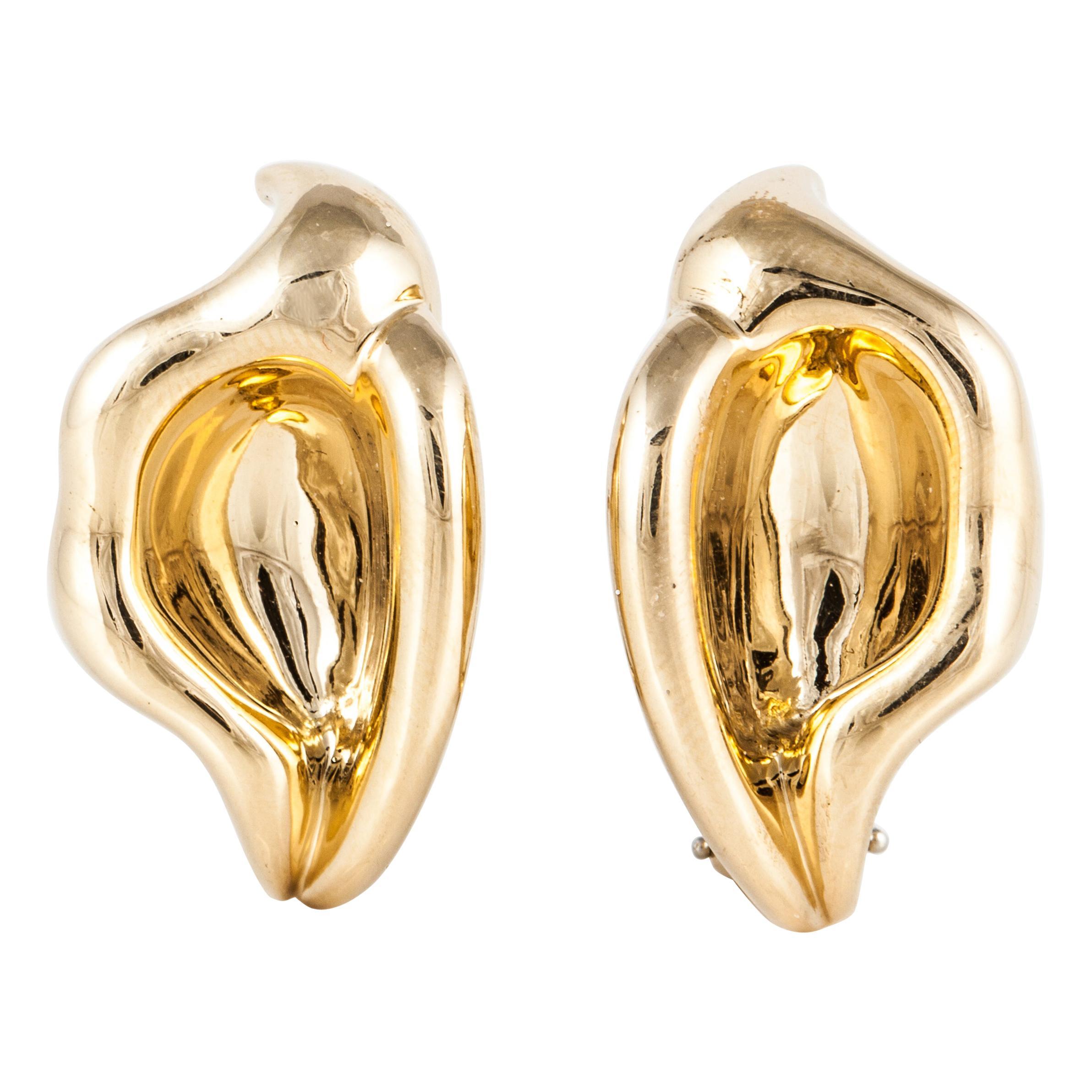 Tiffany & Co. Elsa Peretti Calla Lily Earrings in 18K Gold