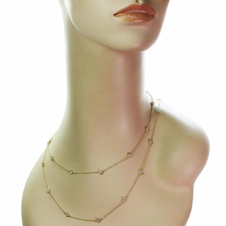Brilliant Cut Tiffany & Co. Elsa Peretti Diamond by the Yard Long 18k Yellow  Necklace For Sale