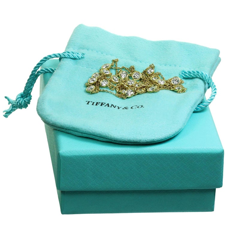 Tiffany & Co. Elsa Peretti Diamond by the Yard Long 18k Yellow  Necklace In Excellent Condition For Sale In New York, NY