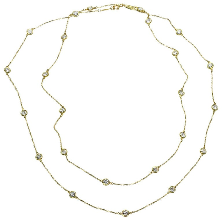 Tiffany & Co. Elsa Peretti Diamond by the Yard Long 18k Yellow  Necklace For Sale