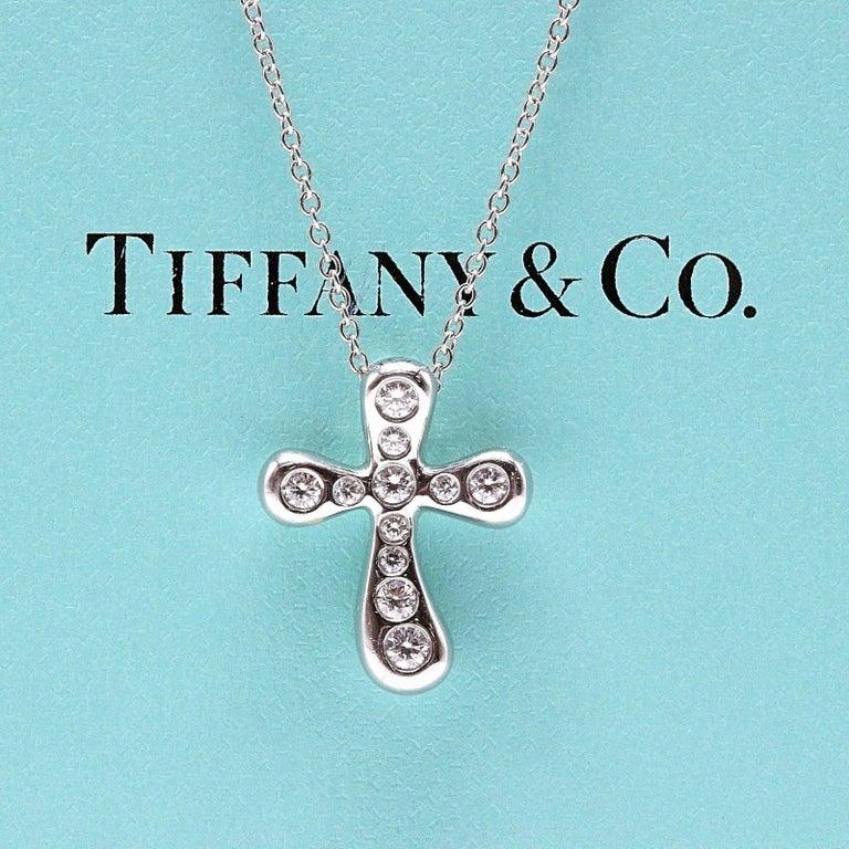 Tiffany & Co. Elsa Peretti Diamond Cross Pendant Necklace in Platinum For Sale 2