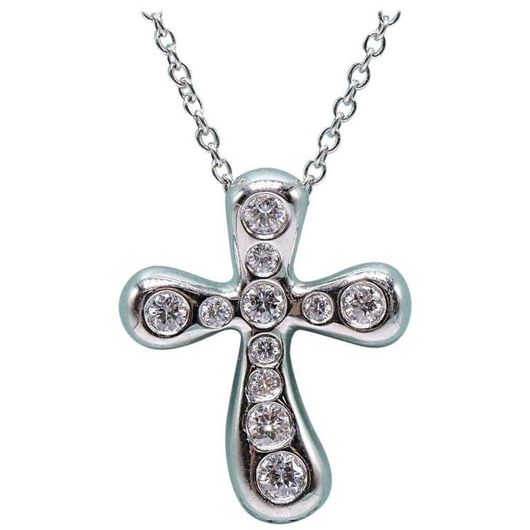 Tiffany & Co. Elsa Peretti Diamond Cross Pendant Necklace in Platinum For Sale