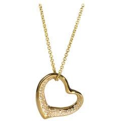 Tiffany & Co. Elsa Peretti Diamond Heart Necklace in 18K Yellow Gold 0.60 Carat