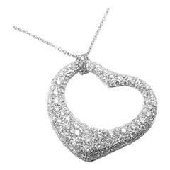 Tiffany & Co. Elsa Peretti Diamond Large Open Heart Platinum Pendant Necklace
