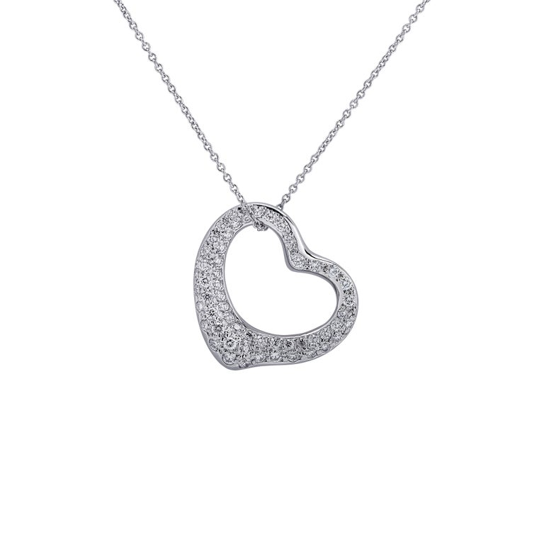 Modern Tiffany & Co. Elsa Peretti Diamond Open Heart Necklace