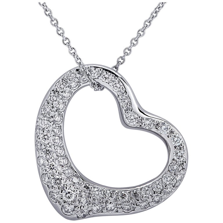 Tiffany & Co. Elsa Peretti Diamond Open Heart Necklace
