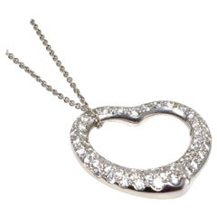 Tiffany & Co. Elsa Peretti Diamond Open Heart Pendant Necklace in Platinum