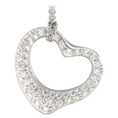 Tiffany & Co. Elsa Peretti Diamond Open Heart Platinum Pendant and Chain