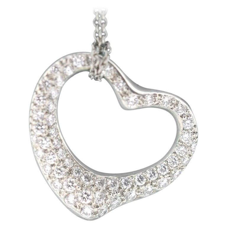 67ffb711d Tiffany & Co. Elsa Peretti Diamond Open Heart Platinum Pendant and Chain  For Sale. The simple ...