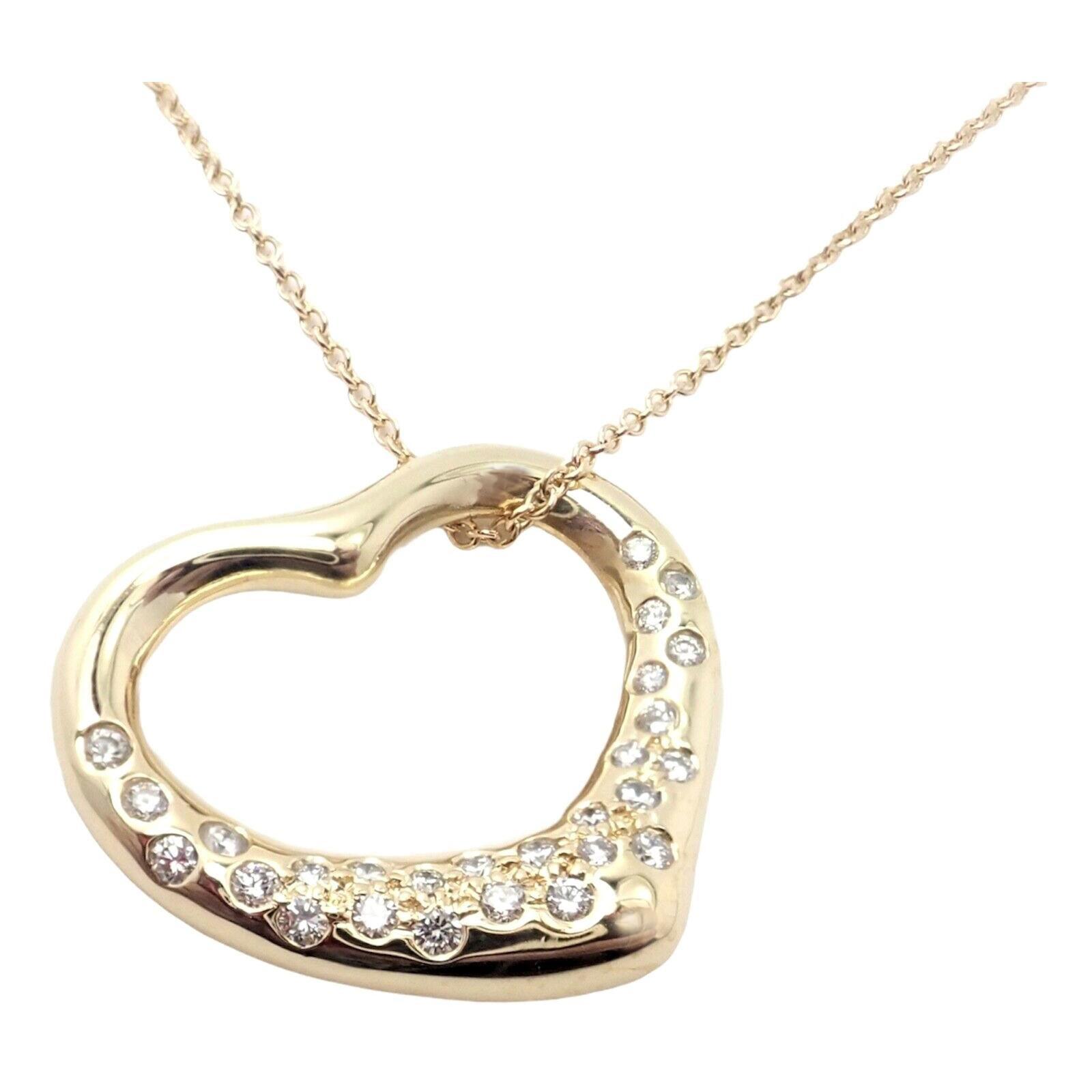 Tiffany & Co. Elsa Peretti Diamond Open Heart Yellow Gold Necklace