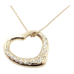 Tiffany & Co. Elsa Peretti Diamond Open Heart Yellow Gold Necklace
