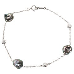 Tiffany & Co. Elsa Peretti Diamond and Tahitian Keshi Pearl Bracelet in Platinum