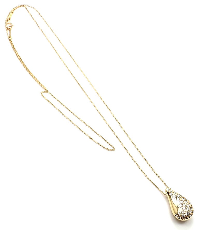 Tiffany And Co Elsa Peretti Diamond Teardrop Yellow Gold