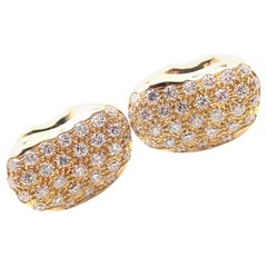 Tiffany & Co. Elsa Peretti Diamond Yellow Gold Bean Cufflinks